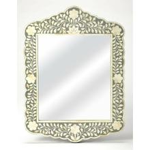 See Details - This magnificent wall mirror features sophisticated artistry and consummate craftsmanship. The botanic patterns covering the piece are created from white bone inlays cut and individually applied in a sea of gray hues by the hands of a skillful artisan. No two mirrors are ever exactly alike, ensuring this piece will hang as a bonafide original.