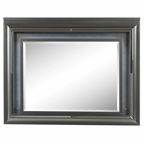 ACME Sawyer Mirror w/LED - 27974 - Metallic Gray