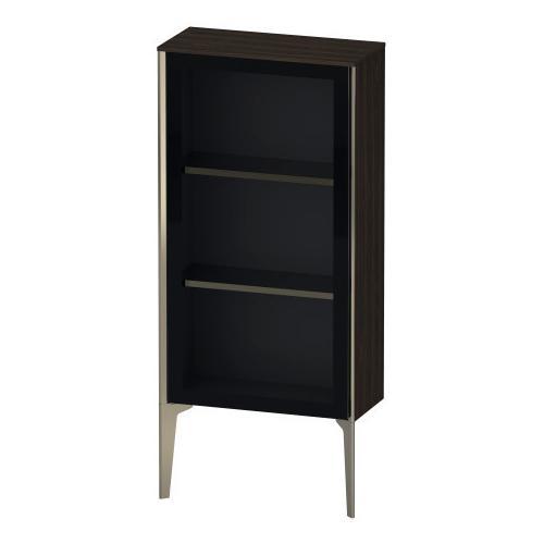 Product Image - Semi-tall Cabinet With Mirror Door Floorstanding, Brushed Walnut (real Wood Veneer)
