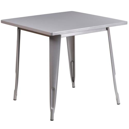 31.5'' Square Silver Metal Indoor-Outdoor Table