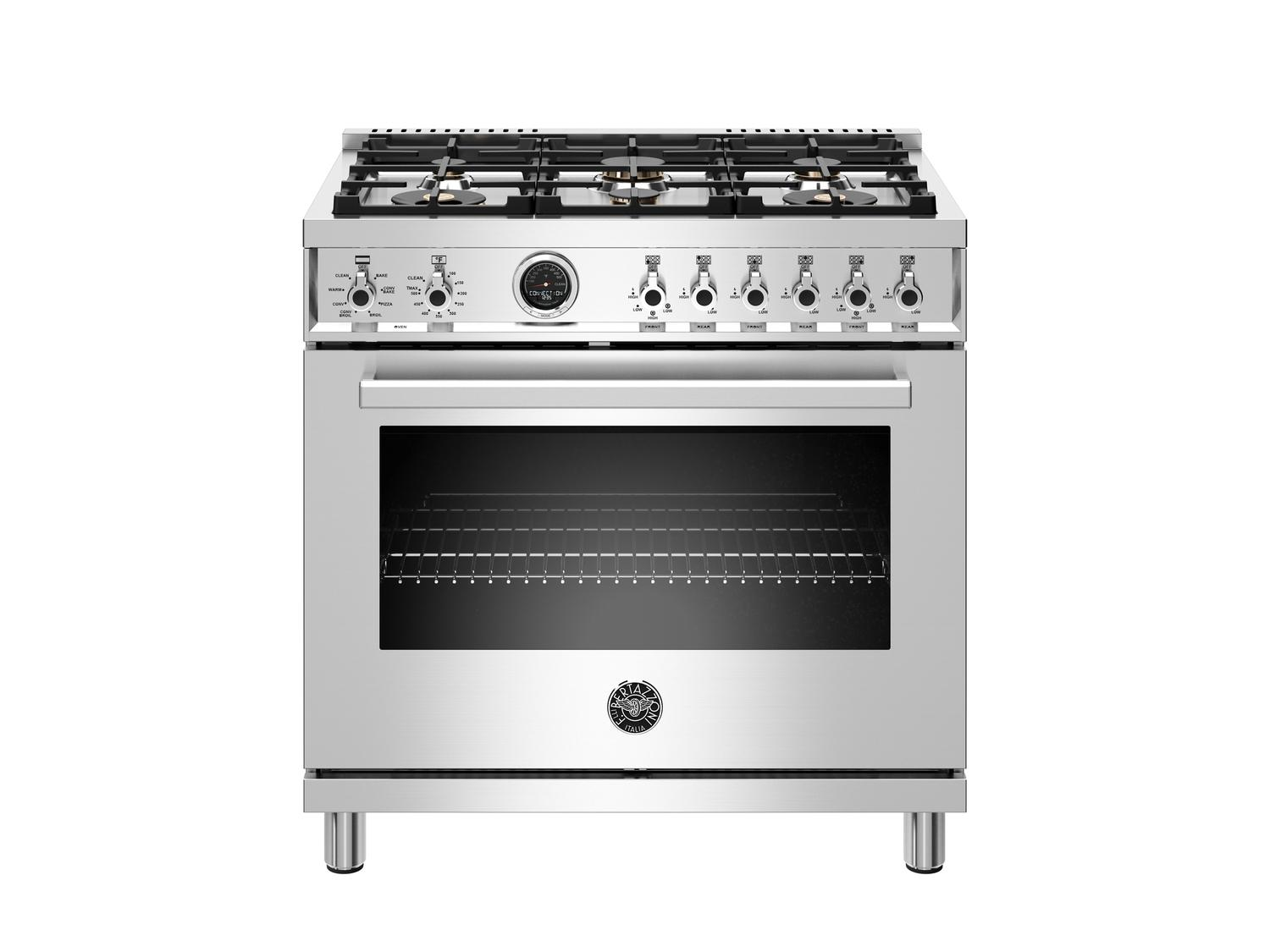 Bertazzoni36 Inch Dual Fuel Range, 6 Brass Burner, Electric Self-Clean Oven Stainless Steel