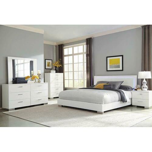 Felicity Contemporary Glossy White Lighted Eastern King Bed