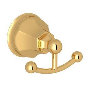 Palladian Wall Mount Double Robe Hook - Italian Brass