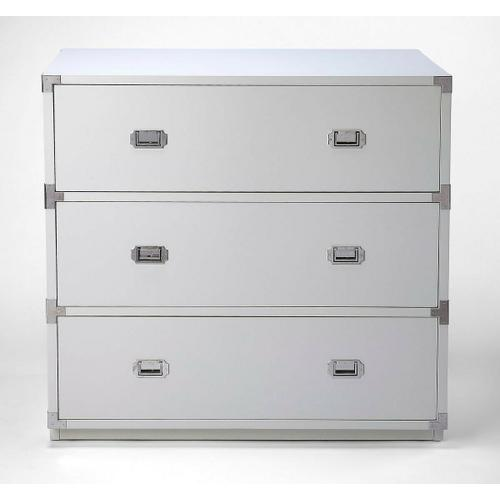Butler Specialty Company - A versatile, functional piece suited for any stage of life, this modern dresser looks right at home in the nursery, child's, teen's or adult's room. Crafted from rubberwood and manufactured wood, it demonstrates a clean-lined silhouette that fits right in with contemporary styles of decor. For storage, three drawers slide open on ball bearing glides to reveal ample space for linens, clothes, toys, and more. At 41 tall and 41 wide, this piece neatly fits into master suites and den spaces alike.