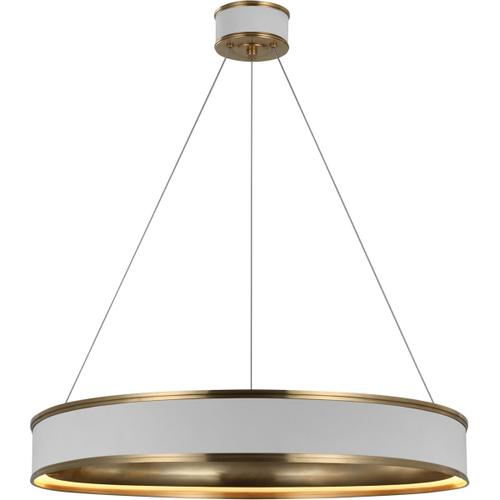 Visual Comfort - Chapman & Myers Connery LED 30 inch Matte White and Antique-Burnished Brass Ring Chandelier Ceiling Light