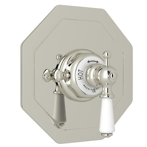 Polished Nickel Perrin & Rowe Edwardian Octagonal Concealed Thermostatic Trim Without Volume Control with Edwardian Metal Lever
