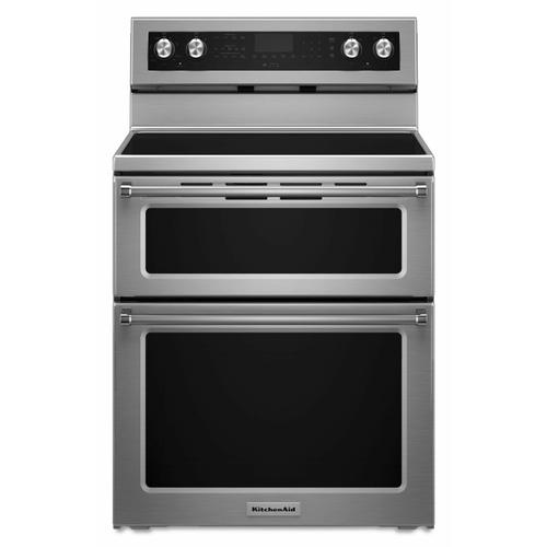 KitchenAid - 30-Inch 5 Burner Electric Double Oven Convection Range - Stainless Steel