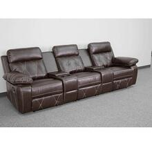 3-Seat Reclining Brown Leather Theater Seating Unit with Straight Cup Holders