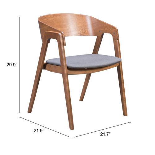 Zuo Modern - Alden Dining Arm Chair Walnut & Dark Gray