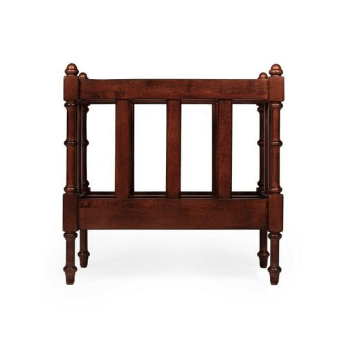 Butler Specialty Company - Organize your magazines and periodicals with this elegant magazine rack. Featuring a warm Antique Cherry finish and a center panel conveniently dividing the space inside into two compartments, it has spindled corner posts and slatted side panels. Crafted from mahogany wood solids and wood products with mahogany veneer.