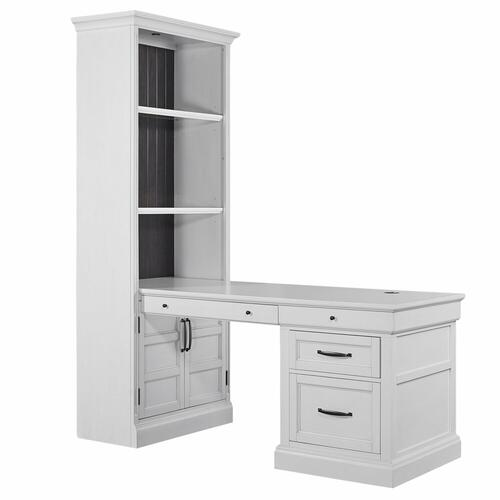 Parker House - SHOREHAM - EFFORTLESS WHITE Bookcase with Peninsula Desk