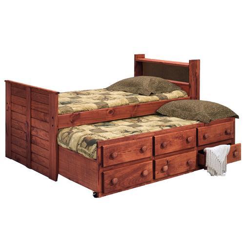 Full Bookcase Captain Bed w/Trundle Unit