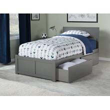 Orlando Twin XL Flat Panel Foot Board with 2 Urban Bed Drawers Atlantic Grey