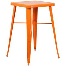 See Details - 23.75'' Square Orange Metal Indoor-Outdoor Bar Height Table