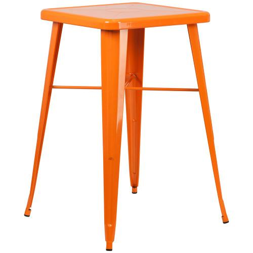 23.75'' Square Orange Metal Indoor-Outdoor Bar Height Table