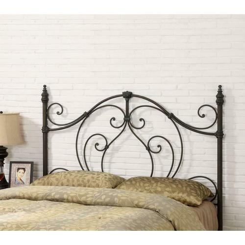 Traditional Black and Bronze Metal Headboard With Looping