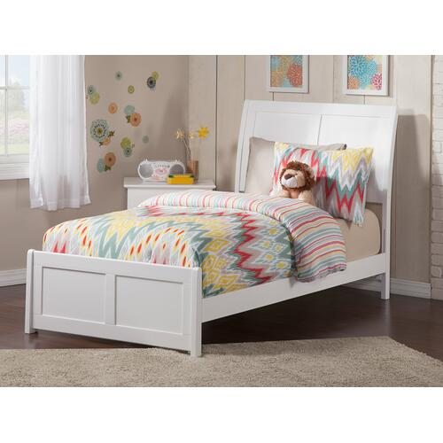 Portland Twin Bed with Matching Foot Board in White