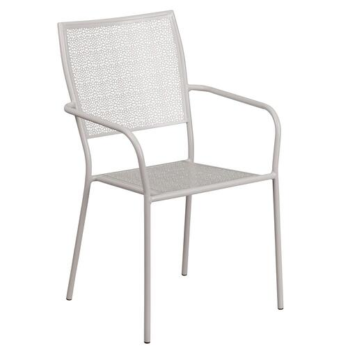 Light Gray Indoor-Outdoor Steel Patio Arm Chair with Square Back