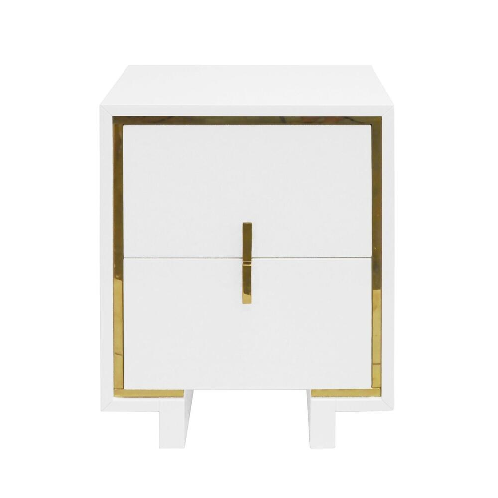The Impeccable Details of Our Bruna Two Drawer Side Table Will Captivate You. Inspired By Luxury Hotel Bedding, an Inset Brass Stripe Surrounds Two Drawers and Is Complemented By Coordinating Brass Pulls. Finished In Our Signature Glossy White Lacquer.