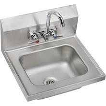 "See Details - Elkay Stainless Steel 16-3/4"" x 15-1/2"" x 13"", Single Bowl Wall Hung Handwash Sink Kit"