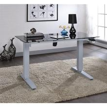 GLASS TOP DESK W/POWER LIFT