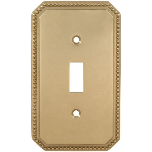 Single Beaded Switchplate in (US3 Polished Brass, Lacquered)