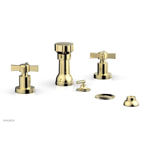 BASIC Four Hole Bidet Set - Blade Cross Handles D4137 - Polished Brass