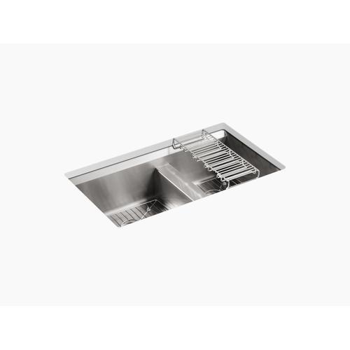 "33"" X 18"" X 10-3/16"" Undermount Double-bowl Large/medium Kitchen Sink"