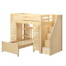See Details - All in One Staircase Loft Bed Storage Storage + Twin Bed Natural