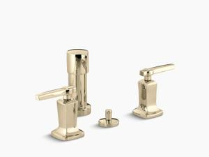 Vibrant French Gold Vertical Spray Bidet Faucet With Lever Handles Product Image