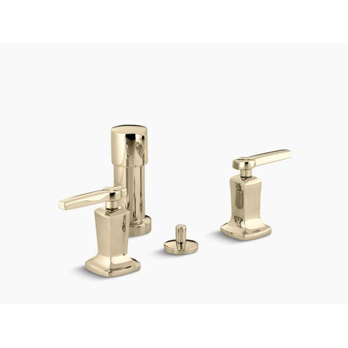 Vibrant French Gold Vertical Spray Bidet Faucet With Lever Handles