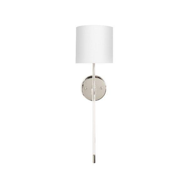 The Chic, Minimalist Silhouette of the Bristow Sconce Is A Study In Refined Design - A Crisp Linen Shade Sits Atop the Minimalist Acrylic Rod and Polished Nickel Body. A Stunning Addition To Your Professional Lighting Plan.