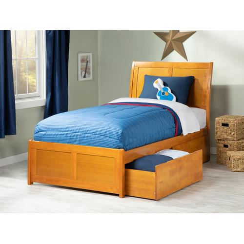 Portland Twin Bed with Matching Foot Board with 2 Urban Bed Drawers in Caramel Latte