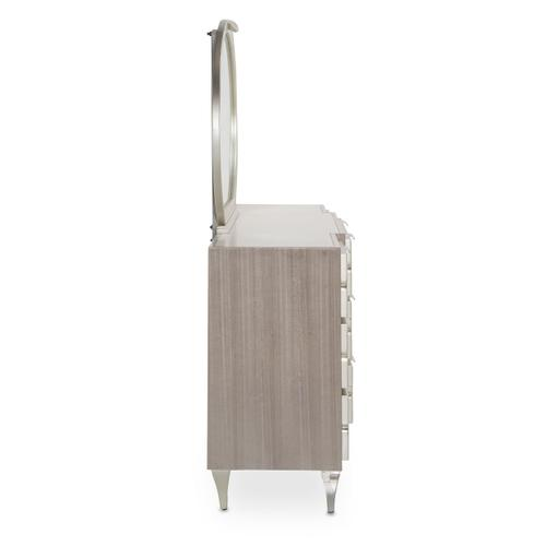 Amini - Storage Console- Dresser & Oval Mirror