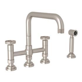 Campo Deck Mount U-Spout 3 Leg Bridge Faucet with Sidespray - Satin Nickel with Industrial Metal Wheel Handle
