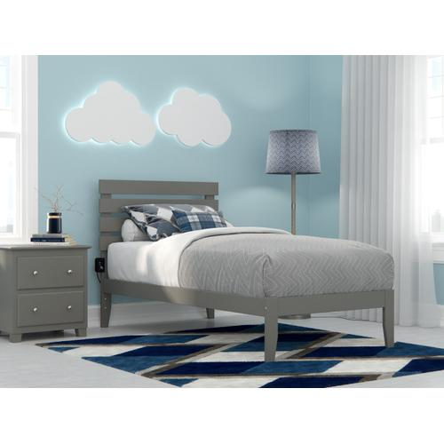 Oxford Twin Bed with USB Turbo Charger in Grey