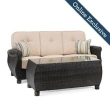 Breckenridge Outdoor Sofa with Pillows and Coffee Table Set w/ Natural Tan Cushion