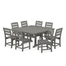 View Product - Lakeside 9-Piece Farmhouse Trestle Dining Set in Slate Grey