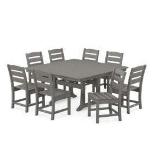 Polywood Furnishings - Lakeside 9-Piece Farmhouse Trestle Dining Set in Slate Grey