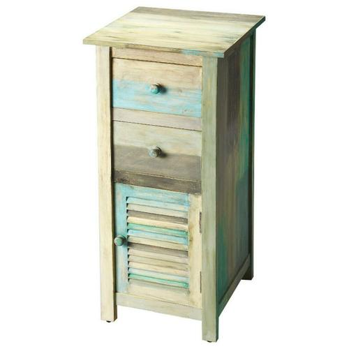 Butler Specialty Company - The Fiona accent chest enhances any bedroom or living space. The many colors of the Artifacts distressed finish bring a lightness and airy feeling to the room. The painted rustic features include two top drawers and a lower cabinet, perfect for tucking away whatever you need.