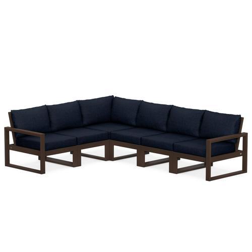 Polywood Furnishings - EDGE 6-Piece Modular Deep Seating Set in Mahogany / Marine Indigo