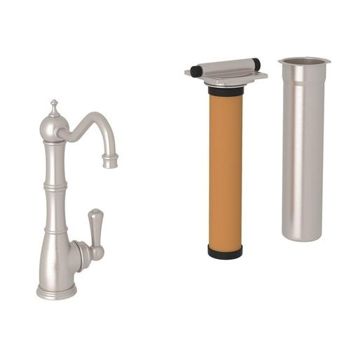 Satin Nickel Perrin & Rowe Edwardian Column Spout Filter Faucet with Metal Lever
