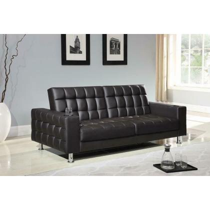 See Details - Brown Faux Leather Sofa Bed