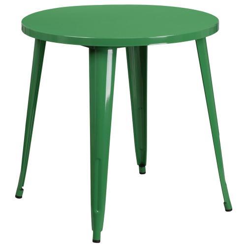 30'' Round Green Metal Indoor-Outdoor Table