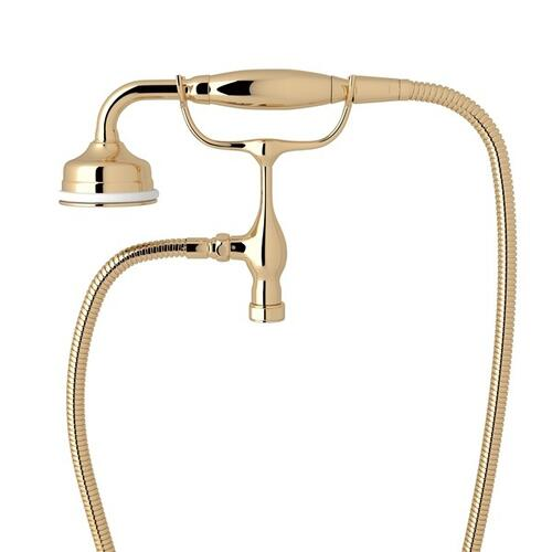 English Gold Perrin & Rowe Edwardian Handshower/Cradle with Georgian Era Solid Metal Lever
