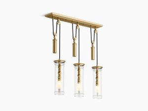 Modern Brushed Gold Three-light Adjustable Linear Product Image