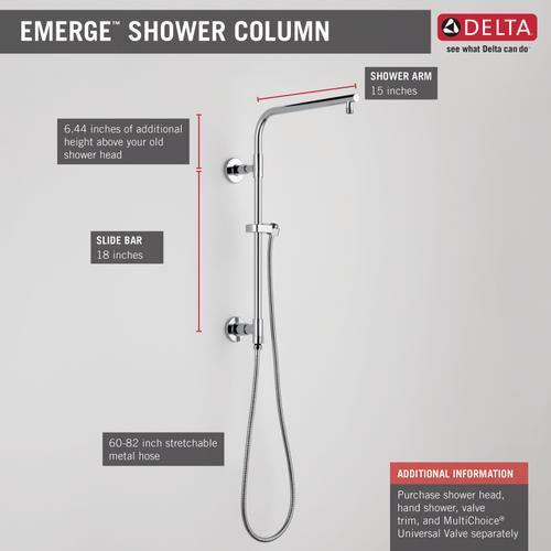 """Chrome Shower Column 18"""" Round"""