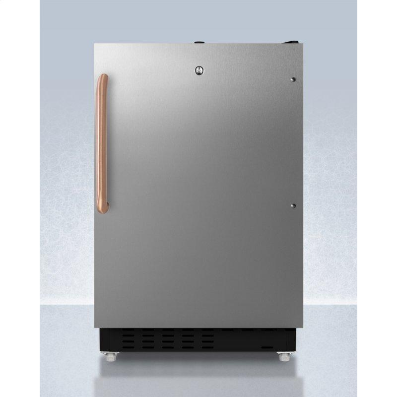 Built-in Undercounter, ADA Compliant Refrigerator-freezer Designed for General Purpose Storage, With A Stainless Steel Door, Pure Copper Towel Bar Handle, Manual Defrost Operation, and Front Lock