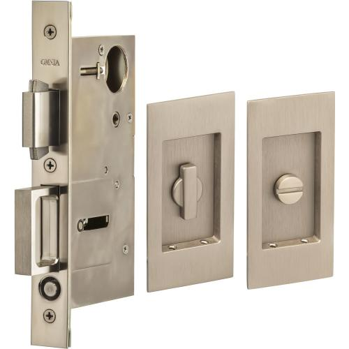 Pocket Door Lock with Modern Rectangular Trim featuring Turnpiece and Emergency Release in (US15 Satin Nickel Plated, Lacquered)