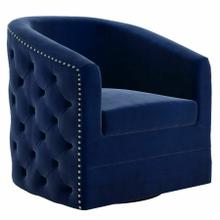 See Details - Velci Swivel Accent Chair in Blue